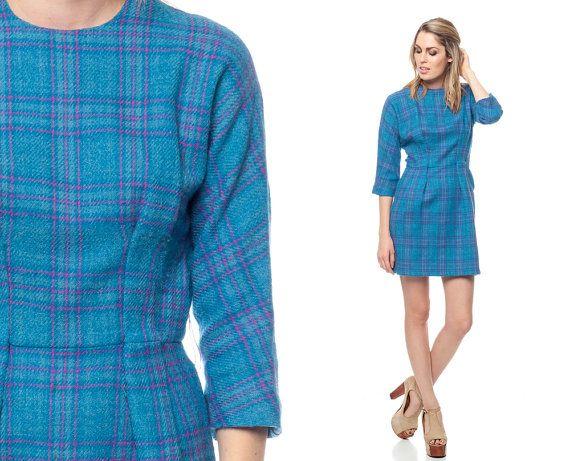 60s WOOL Dress Plaid Mini Mod Mad Men Bright Blue 1960s Sheath Preppy ...