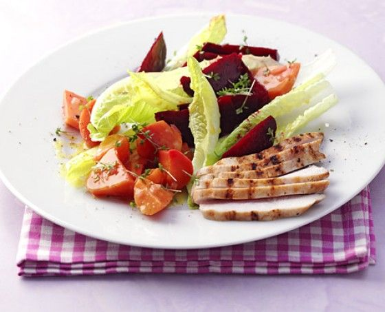 marinated winter veggies with grilled chicken breasts