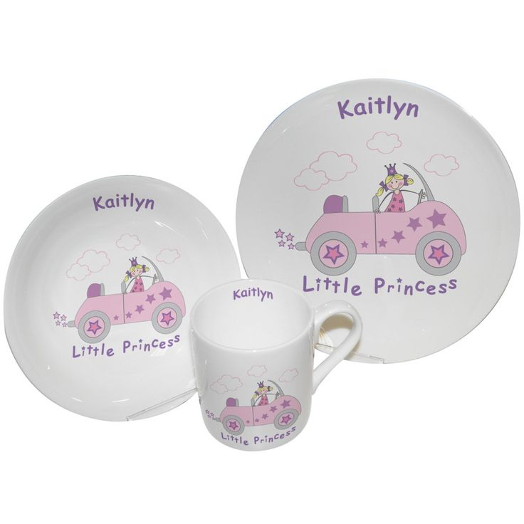 124 best personalised gifts images on pinterest personalised personalised breakfast gift set for newborn baby girl christening or 1st birthday little princess negle Images