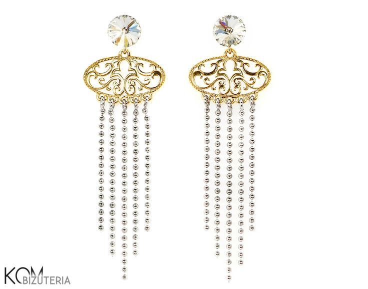 GOLDEN GLAMOUR -  Swarovski and silver stud earrings. Beautiful, long, glamour stud earrings with silver and gold-plated silver elements accentuated with sparkling Swarovski rivoli crystals.