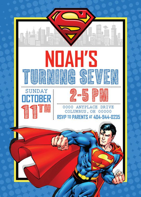 Superman Birthday Invitation by WestOnDesignSt on Etsy