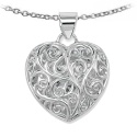 Large Silver Open Scroll Heart Pendant [SP019B] - £39.60 : UK Silver Jewellery, Buy Silver Necklaces, Earrings and Bracelets