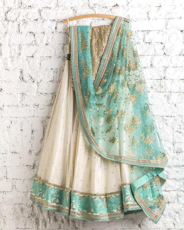 Lehengas by SwatiManish : Pearl lehenga with ocean blue dupatta