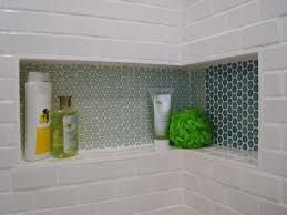 A shower nook instead of having a shelf or hanging basket, doesn't take away from the shower space at all!