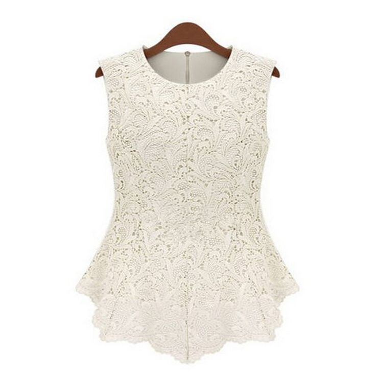 [ MASCUBE ]Summer Blusas Femininas Women Ladies Blouse Lace Vintage Sleeveless White Renda Crochet Casual Shirts Women Tops Tee