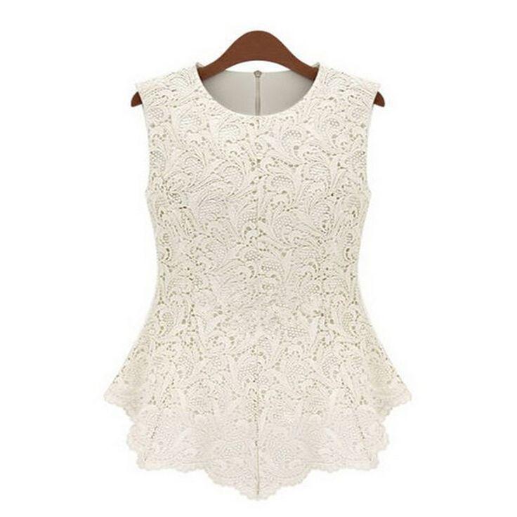 [Mascube]夏blusas femininas女性レディースブラウスレースヴィンテージノースリーブホワイトrendaかぎ針編みカジュアルシャツ女性トップスティー