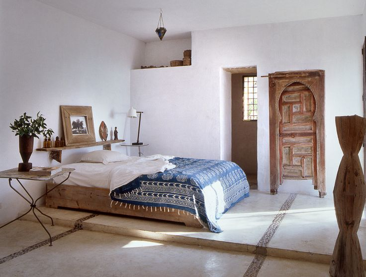 Simple rustic bedroom in a home in Ibiza, Spain