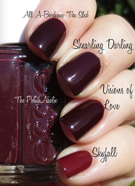 OPI Visions of Love vs Essie Shearling Darling vs OPI All A-Bordeaux The Sled vs OPI Skyfall