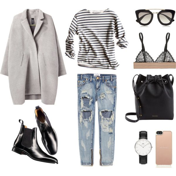 Boyfriend Jeans + Breton Stripes by fashionlandscape on Polyvore featuring Mode, Zero + Maria Cornejo, One Teaspoon, STELLA McCARTNEY, Charles Tyrwhitt, Mansur Gavriel, Daniel Wellington, Kate Spade and Prada