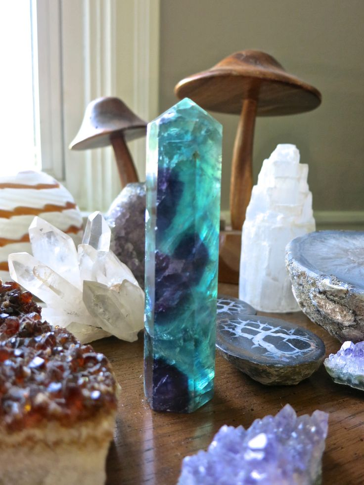katiesbasement:  My heart stopped when I saw this giant Fluorite wand! SO BEAUTIFUL! It's now for sale in my shop.