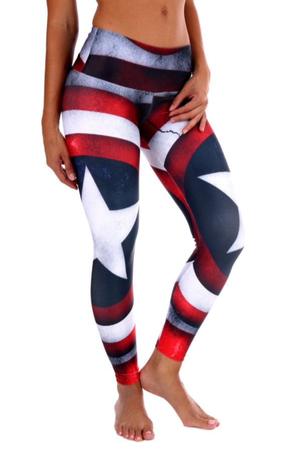 America LeggingsWide waist bandSoft, stretchy and amazingly comfortable for WOD workouts, Running, Yoga or SpinFour Way Stretch 79% Polyester, 21% ElastanePiling Resistant, eliminates snagsQuick Dry and Breathable even during the sweatiest workout sessions.Size ChartSmall/Medium0-6Medium/Large6-10