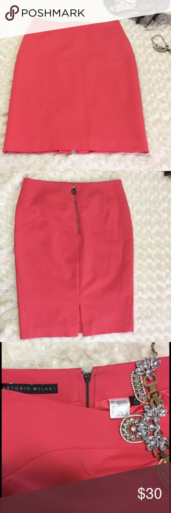 Antonio Melani Coral Pencil Skirt Sz 2 Antonio Melani Coral pencil skirt. Only wore 2x. Feels so soft on the inside (Like butter;) Has small creases from hanger but otherwise EUC. Hits right at top of knee. 22inches in length . ANTONIO MELANI Skirts Pencil