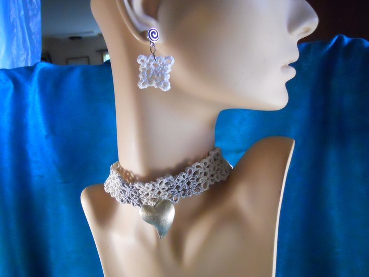 Brides choker and earring set.  Heart and clasp are sterling silver