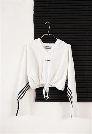 white 90's adidas crop sport sweatshirt from HOMEGIRL - Sale! Up to 75% OFF! Shot at Stylizio for women's and men's designer handbags, luxury sunglasses, watches, jewelry, purses, wallets, clothes, underwear & more!