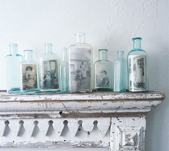 Nice reuse of glass botteles. Turn them into photo frames. #interior #design #eco #reuse #recycle #upcycle #diy: Photo Display, Vintage Bottle, Old Pictures, Glasses Bottle, Old Photo, Old Bottle, Vintage Photo, Pictures Frames, Display Photo