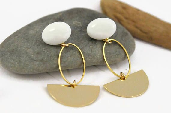 White and gold earrings Minimalist earrings Clip on dangle