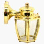 Angelo Brothers 67963  One-Light Wall Lantern by Angelo Brothers. $11.99. From the Manufacturer                The Angelo Brothers One-Light Wall Lantern features a polished brass finish with clear curved glass panels.  It measures 7-3/4-inch in height, 6 inches in width, and extends to 6-1/2 inches.  It uses one clear standard base bulb, A-19 with a 60-watt maximum.  Angelo Brothers Lighting creates a variety of interesting and rich outdoor designs.  Their lanterns will grace...