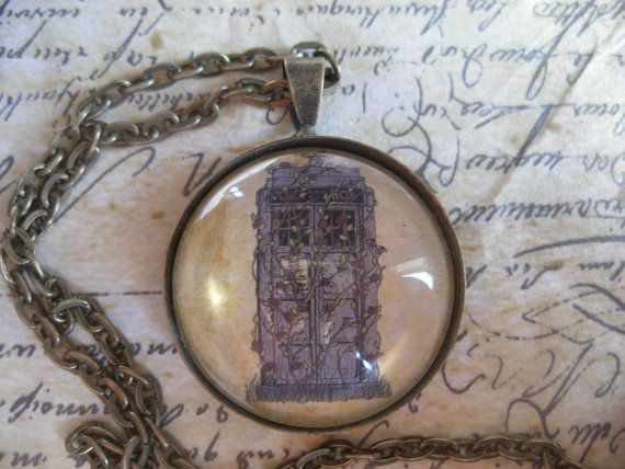Doctor Who Rose Pendant Necklace- Dr Who inspired Tardis artwork in antiqued bronze setting with 18 inch chain