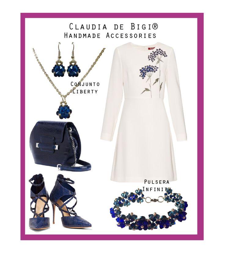 Vestido blanco manga larga con bordado, cartera, zapatos y pulsera y conjunto de aros y collar en cristal Swarovski. Invierno 2016