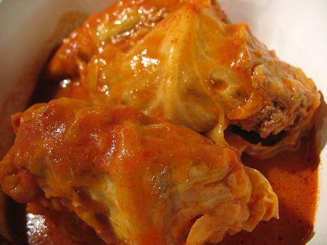 German Cabbage Rolls - Looks just like Grandmas but the recipe is a lot different. Tomato soup and clove is our secret weapon!