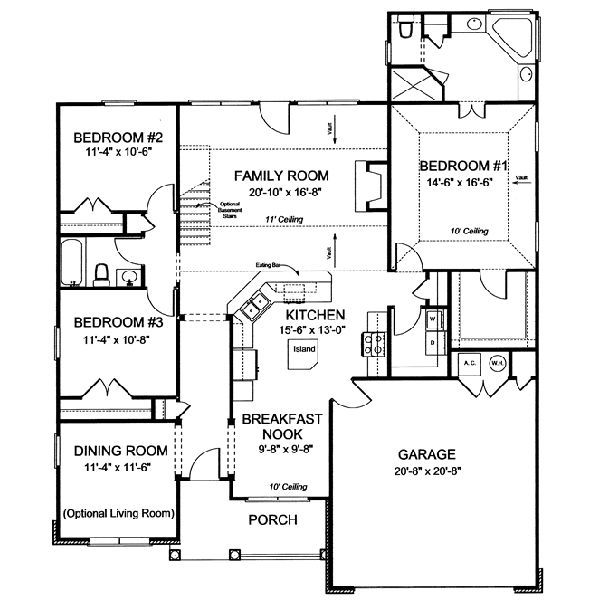 3 Bedroom House Plans | ... Feet, 3 Bedrooms, 2 Batrooms,