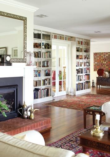 bookcases, doors, rugs