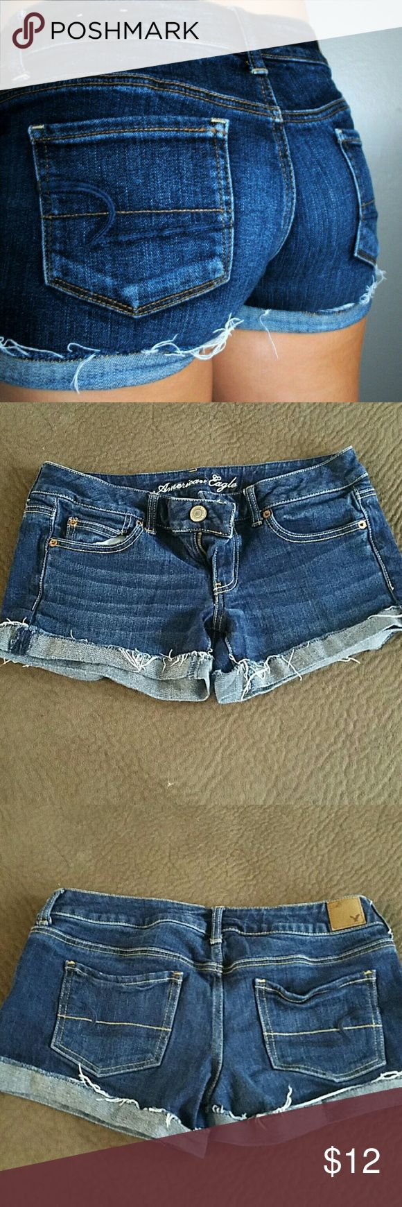 AE stretch jean shorts Size 6 stretch jean shorts from American Eagle. The hem on the bottom is folded up and is meant to fray with wear. EUC. American Eagle Outfitters Shorts Jean Shorts