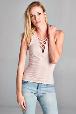 LACE UP V NECK TANK