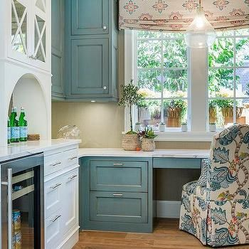 blue distressed kitchen cabinets blue distressed cabinets with gray herringbone tile 4805