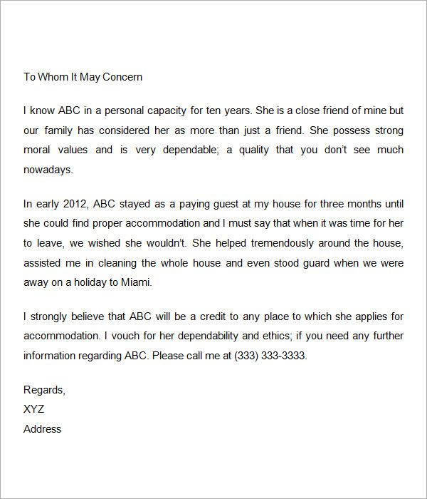 Personal Reference Letter Template Word Personal Reference Letter