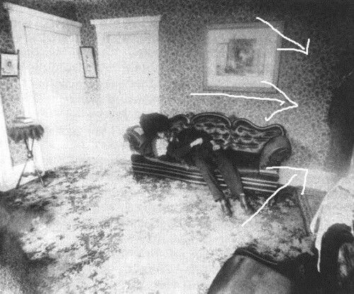 In a picture taken in the Lizzie Borden house......Mr Borden looking down at his body?