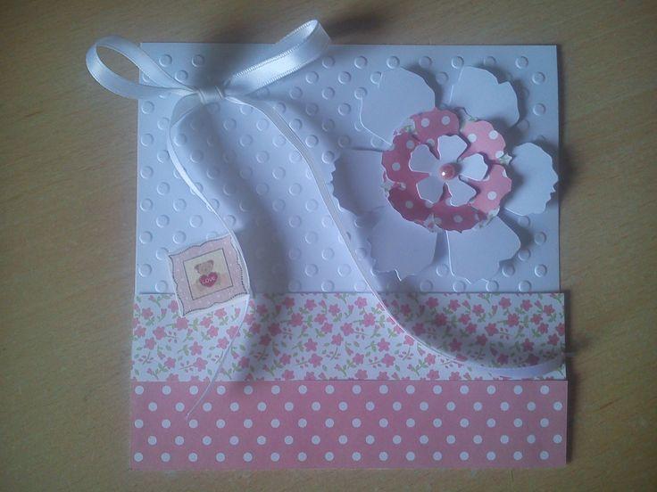 Carte félicitations pour une naissance rose et blanche - Faite main