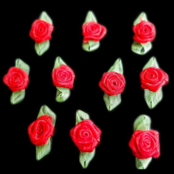 Miniature Sheer Red Coiled Ribbon Rose Buds by ColourCocoon
