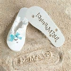 just married honeymoon flip flops