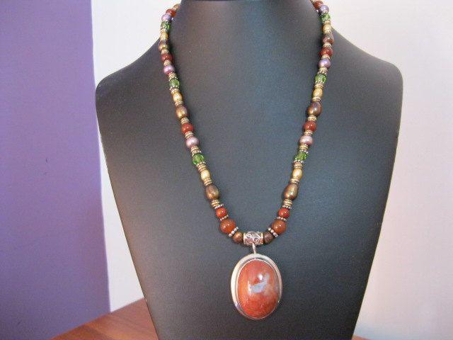 Huge Jasper Pendant Necklace by JulleenJewels on Etsy