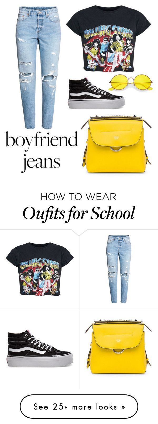 """""""Boyfriend jeans"""" by a66eygail on Polyvore featuring Vans, Ray-Ban and Fendi"""