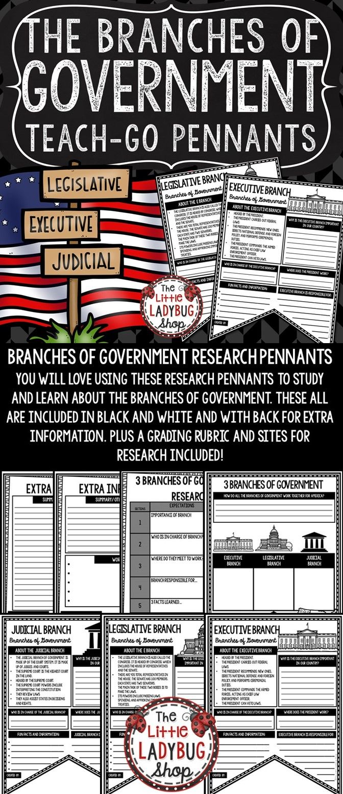 Branches of Government Activity Pennant Print & Go with these Pennants! These Branches of Government Posters are perfect for a quick interactive activity to study the US Branches. Your students will love researching and studying using these! They will be perfect to display after completion. TIP: I would let groups work on different Branch and present to class, I would display these after!