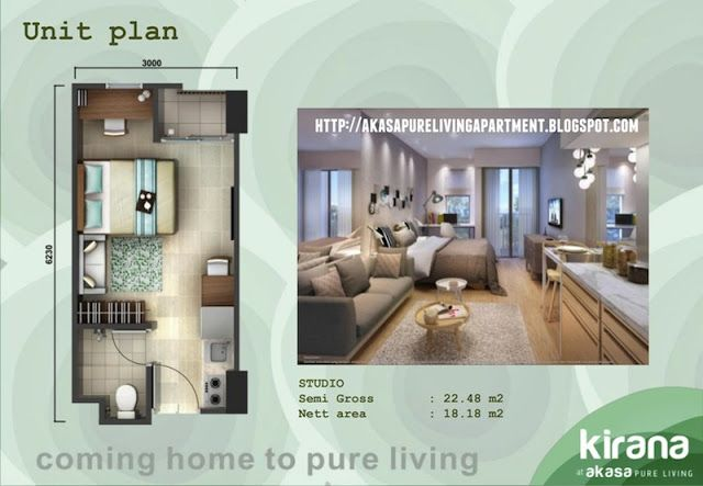 Studio unit type Akasa BSD Apartment #akasabsd #akasapureliving