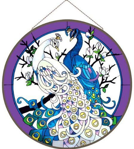 White/Blue Peacocks Metal-Framed Stained Glass Art Panel 21.5 W X 21.5 H Joan Baker Designs APM513 Joan Baker Designs http://www.amazon.com/dp/B003OKSDKW/ref=cm_sw_r_pi_dp_Jd25wb0WV9PXX