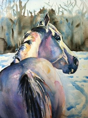 Maria's Watercolor: daily paint works challenge, white on white - white horse in the snow