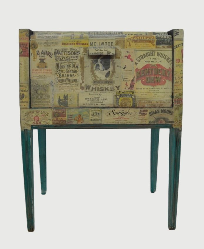 decoupage vintage drinks cabinet, shabby chic