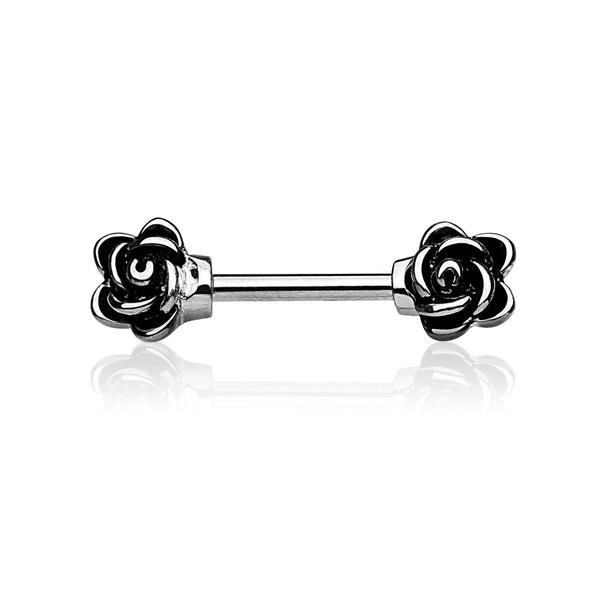 Simple decorative roses nipple piercing.  Material:316L Medically graded Surgical steel Gauge: 14g Bar size: 12mm Size of each rose: 0.5m W x 0.5cm H
