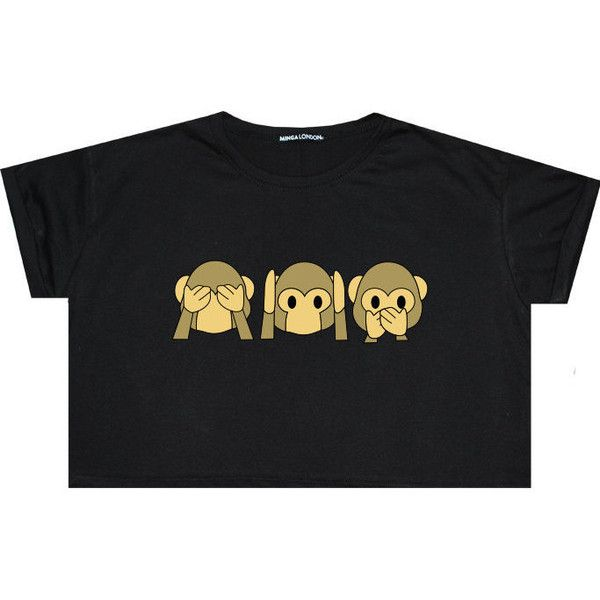 Emoji Monkey Crop Top Smile Emotions T Shirt Tee Sit Funny Fun Tumblr... ($17) ❤ liked on Polyvore featuring tops, t-shirts, shirts, crop tops, tee's, black, sweater vests, sweaters, women's clothing and grunge t shirts