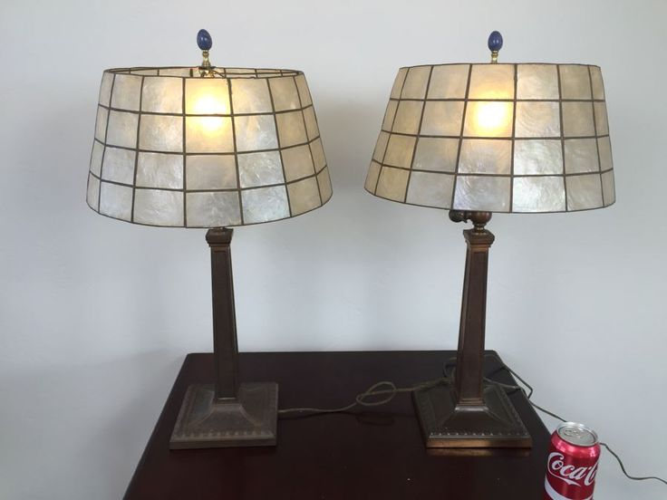 Pair Of Craftsman Table Lamps With Capiz Shades