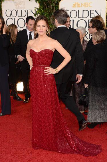 Jennifer Garner shines in a glimmering strapless Vivienne Westwood creation.
