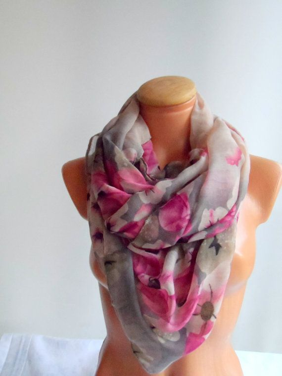 Floral scarf  shawl wraps grey pink  and burgundy scarf by Ellde