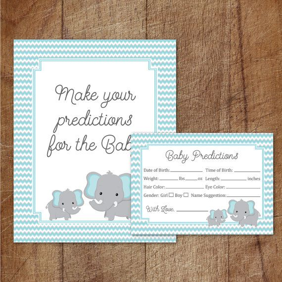 Elephant Baby Shower Prediction Cards And by GraphicWispPrints