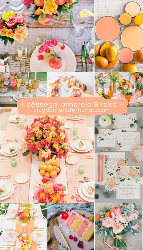 Decoração de Casamento : Paleta de Cores Pêssego Amarelo e Rosa