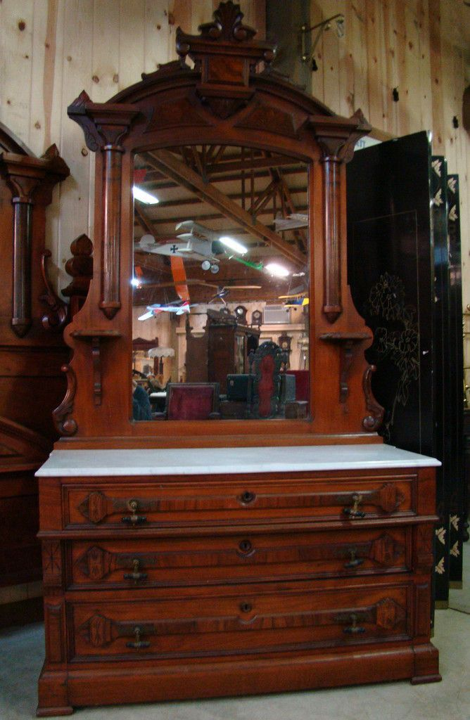 Great 3 Piece 1870 S Victorian Walnut Marble Top Bedroom Set