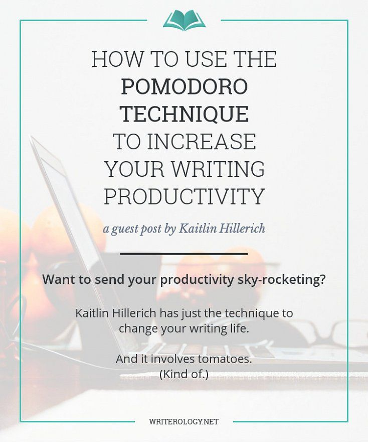How to Use the Pomodoro Technique to Increase Your Writing Productivity | http://www.writerology.net/blog/post/2015/12/how-to-use-the-pomodoro-technique-to-increase-your-writing-productivity-guest-post-by-kaitlin-hillerich #amwriting